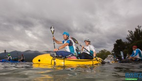 Chris and Emily Forne packrafting on Lake Te Anau