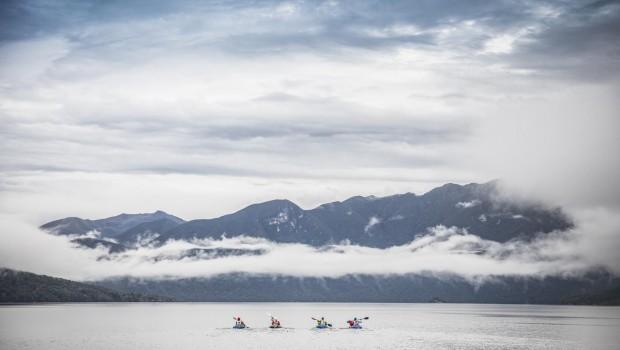 Teams paddling Lake Hauroko