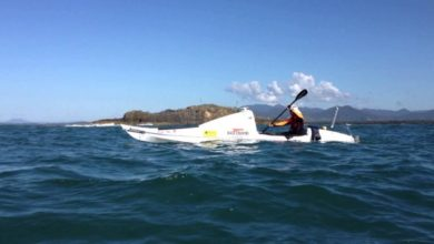 Photo of Scott Donaldson half distance across Tasman