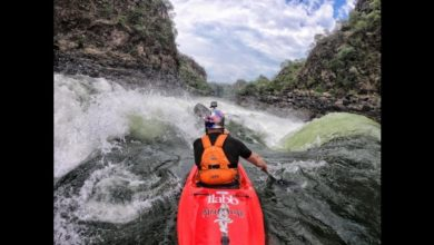 Photo of Kiwi Ben brown Kayaking the Zambezi River with the GoPro Hero6 & GoPro Karma Drone.
