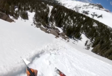 Photo of SPLITBOARDER NARROWLY AVOIDS WET AVALANCHE IN COLORADO